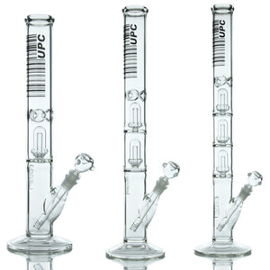 UPC 5mm Thick Glass Straight Tube Water Pipe with Showerhead Percs