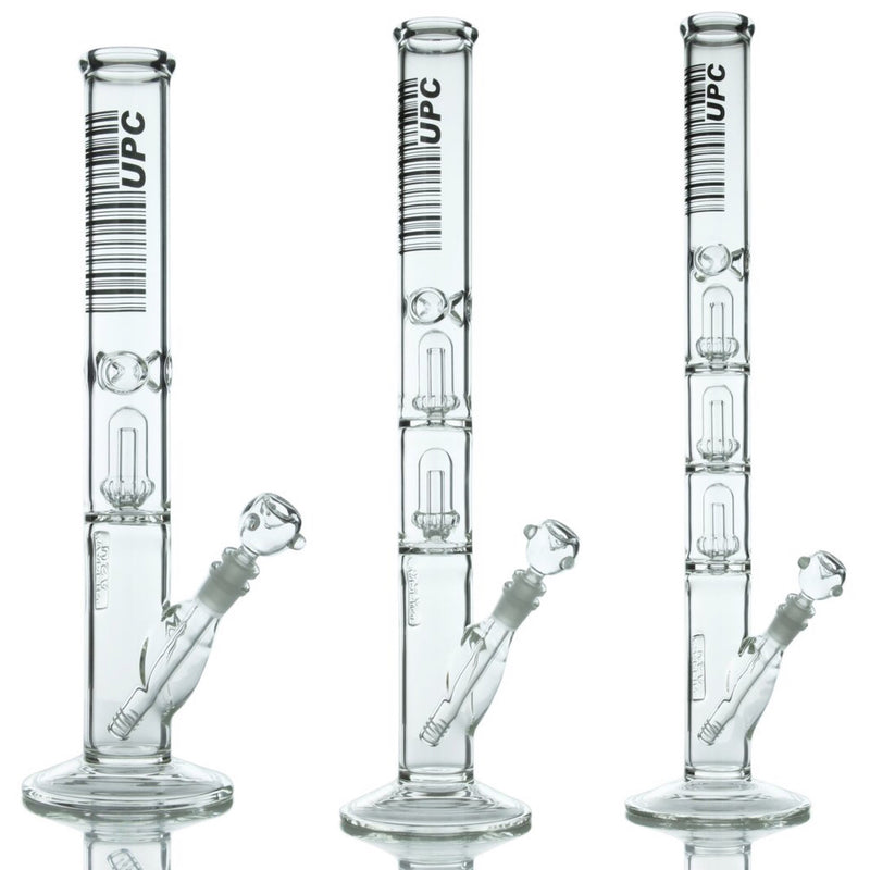 UPC Thick Glass Showerhead Perc Straight Tube Bong