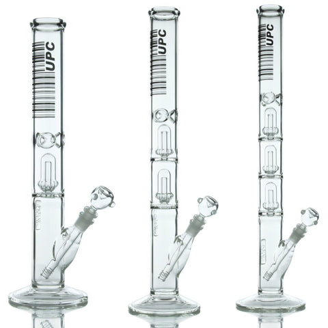 UPC 5mm Thick Glass Straight Tube Water Pipe with Showerhead Percs, CaliConnected Online Smoke Shop