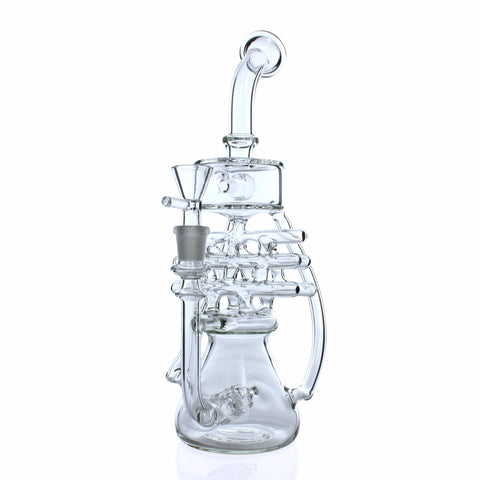 "Glassheads ""Waffle Baker"" - Twin Stereo Perc Lattice Recycler Water Pipe - Affordable vaporizers and quality glass bongs, water pipes, dab rigs and more at the best online headshop - CaliConnected"