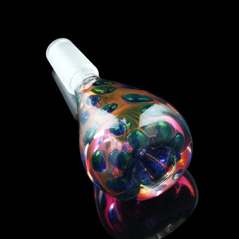 """Bubble Bulb"" Cobalt Drop Fumed Flower Bowl by Smoke Cartel - CaliConnected - Affordable wax and dry herb vaporizers eRigs & eNails, high quality glass bongs, cheap water pipes, wax concentrate dab rigs and unique smoking accessories at the best online smoke shop - CaliConnected Online Headshop"