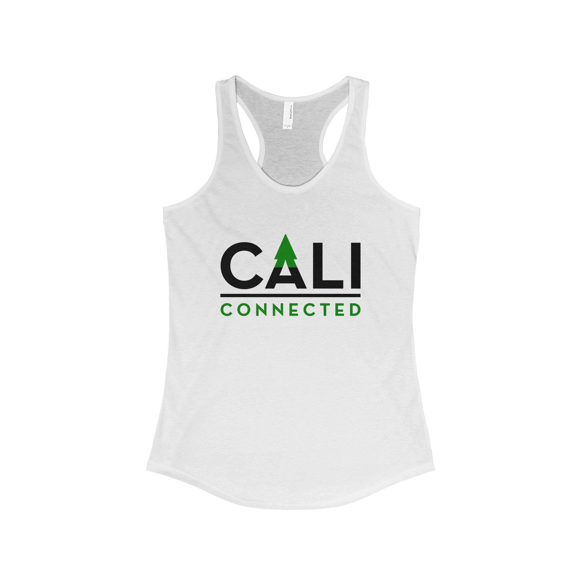 CaliConnected Women's Slim Fit White Racerback Tank - CaliConnected - Affordable wax and dry herb vaporizers eRigs & eNails, high quality glass bongs, cheap water pipes, wax concentrate dab rigs and unique smoking accessories at the best online smoke shop - CaliConnected Online Headshop