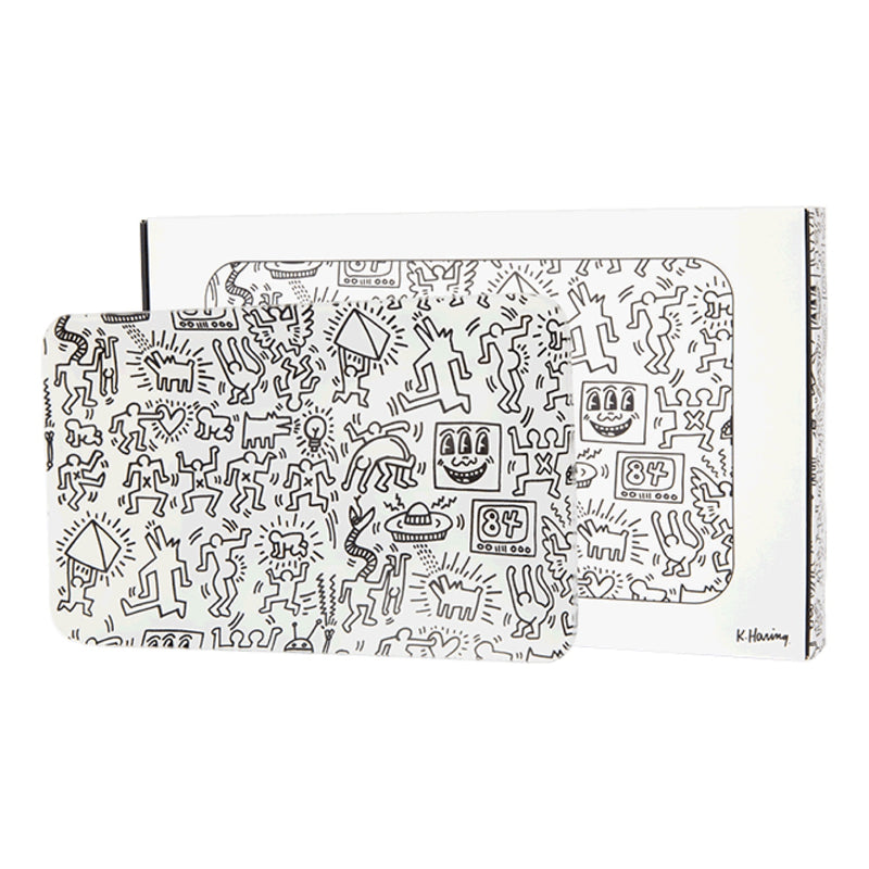 K. Haring Glass Rolling Tray - Black & White