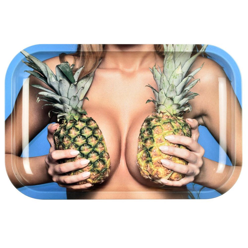 "Pulsar ""Large Pineapples"" Metal Rolling Tray (11"" x 7"")"