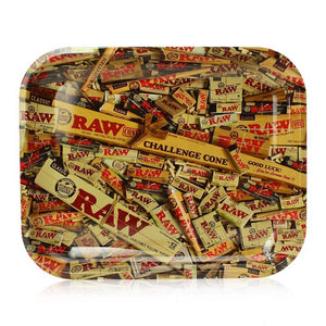 "Raw® Mixed Rolling Papers Large Metal Rolling Tray (14"" x 11"")"