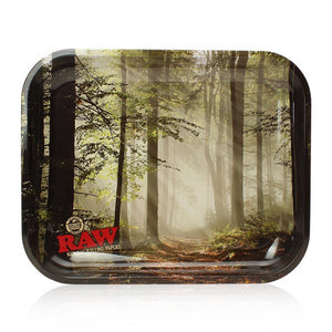 "Raw® Smokey Forest Trees Large Metal Rolling Tray (14"" x 11"")"