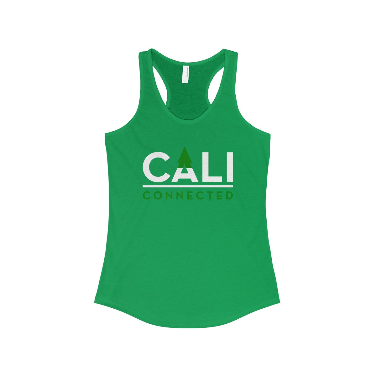 CaliConnected Women's Slim Fit Green Racerback Tank