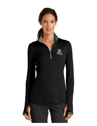 Nike Ladies Dri-FIT Stretch 1/2-Zip Cover-Up Black/Grey with Embroidered Acalanes