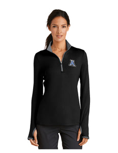 "Nike Ladies Dri-FIT Stretch 1/2-Zip Cover-Up Black/Grey with Embroidered Acalanes ""A"" Logo"