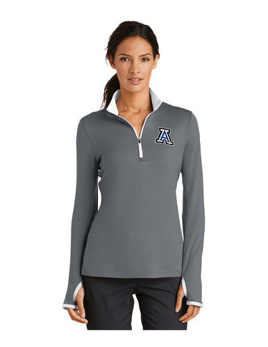 Nike Ladies Dri-FIT Stretch 1/2-Zip Cover-Up Grey/White with Embroidered Acalanes