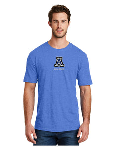 "District Made® Mens Perfect Blend® Crew Tee Heather Royal with Screen Printed Small ""A"" Logo"