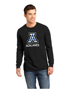 "District® - Young Mens The Concert Tee® Long Sleeve Black with Screen Printed Big Acalanes ""A"" Logo"