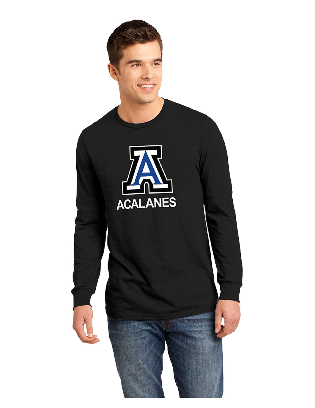 District® - Young Mens The Concert Tee® Long Sleeve Black with Screen Printed Big Acalanes