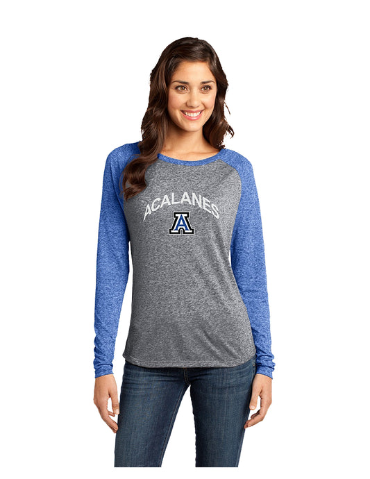 District® - Juniors Microburn® Long Sleeve Tee Heathered Royal/Nickel with Screen Printed Arch Logo