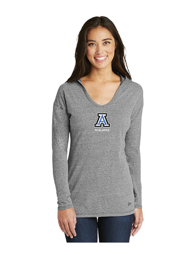 New Era® Ladies Tri-Blend Performance Pullover Hoodie Tee Grey With Screen Printed Small Acalanes