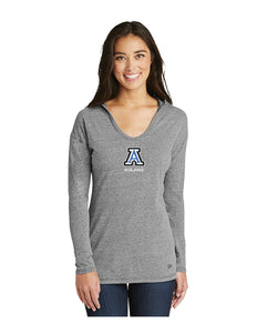 "New Era® Ladies Tri-Blend Performance Pullover Hoodie Tee Grey With Screen Printed Small Acalanes ""A"" Logo"