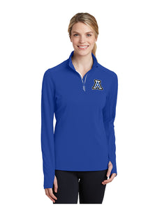 "Sport-Tek® Ladies Sport-Wick® Textured 1/4-Zip Pullover Royal with Embroidered Acalanes ""A"" Logo"