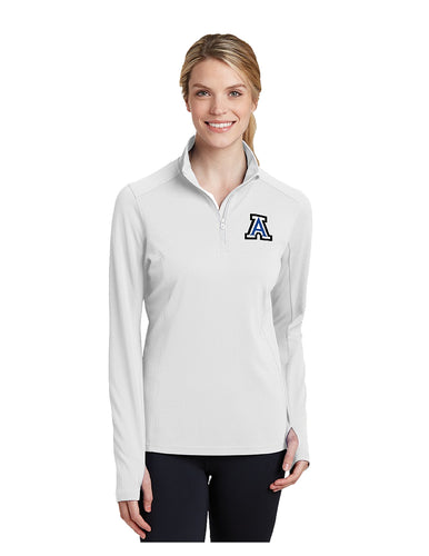 Sport-Tek® Ladies Sport-Wick® Textured 1/4-Zip White Embroidered Acalanes