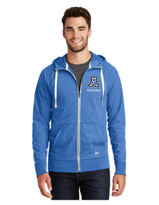 "New Era® Sueded Cotton Full-Zip Hoodie Royal with Screen Printed Small Acalanes ""A"" Logo"