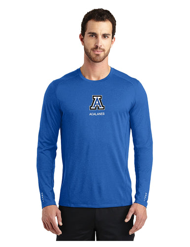 OGIO® ENDURANCE Long Sleeve Pulse Crew Electric Blue with Screen Printed Small Acalanes