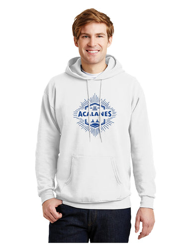 Hanes® EcoSmart® - Pullover Hooded Sweatshirt White with Screen Printed Bridge Logo