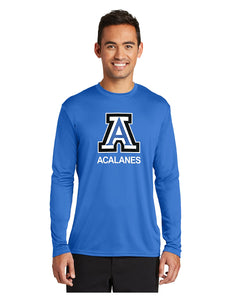 "Port & Company® Long Sleeve Performance Tee Royal with Screen Printed Big Acalanes ""A"" Logo"