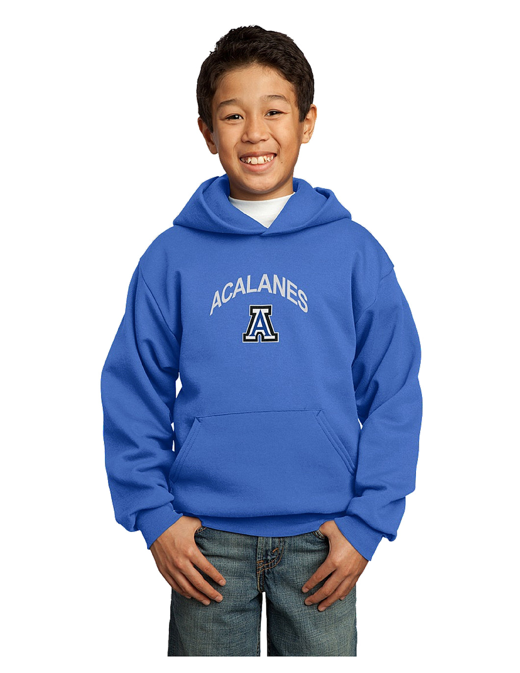 Port & Company® - Youth Core Fleece Pullover Hooded Sweatshirt Royal with Screen Printed Big Acalanes