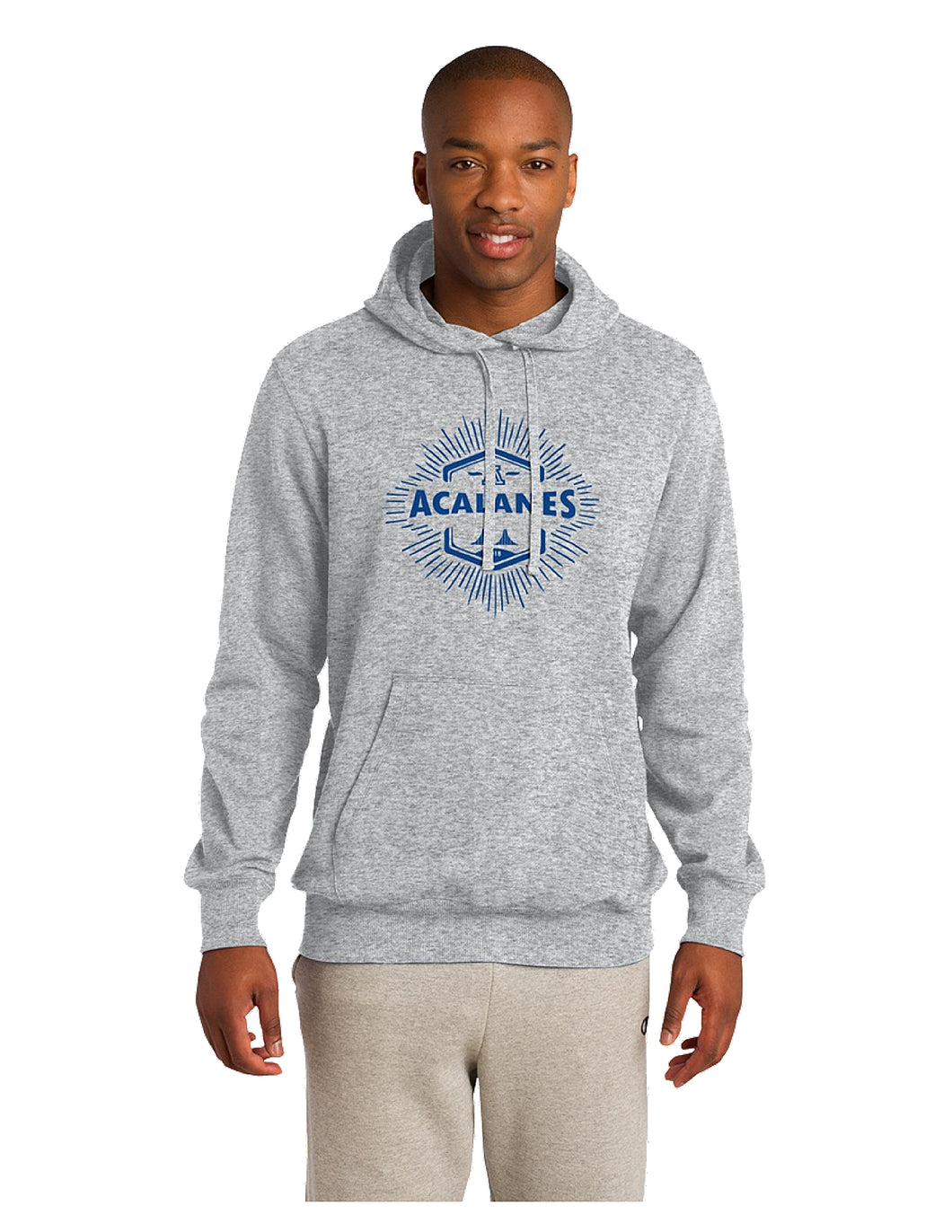 Sport-Tek® Pullover Hooded Sweatshirt Grey with Royal Screen Printed Bridge Logo