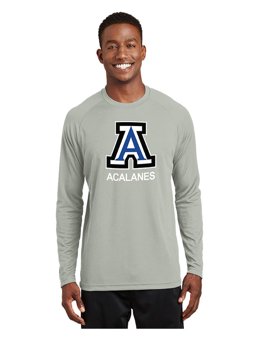 Sport-Tek® Dry Zone® Long Sleeve Raglan T-Shirt Silver with Screen Printed Big Acalanes