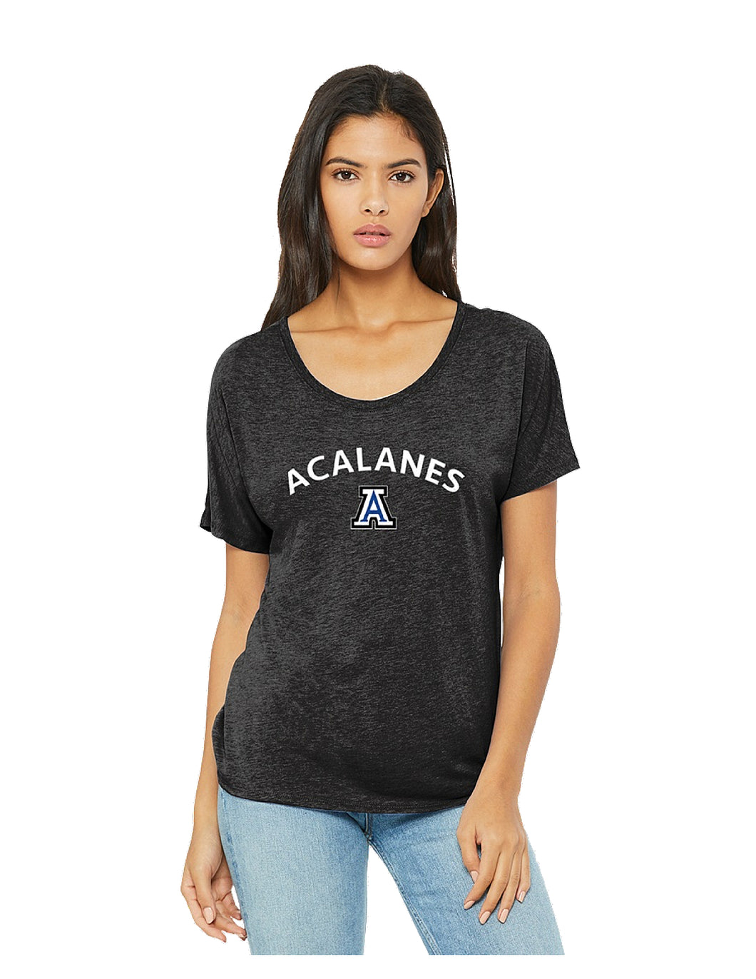 BELLA+CANVAS ® Women's Slouchy Tee Charcoal-Black Triblend with Screen Printed Arch Logo