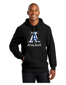 "Sport-Tek® Super Heavyweight Pullover Hooded Sweatshirt Black with Screen Printed Big Acalanes ""A"" Logo"
