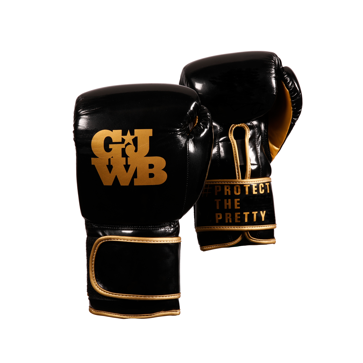 Black and gold boxing gloves for women with GJWB logo