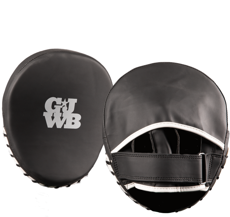 Black women's boxing coach hand pads with GJWB logo