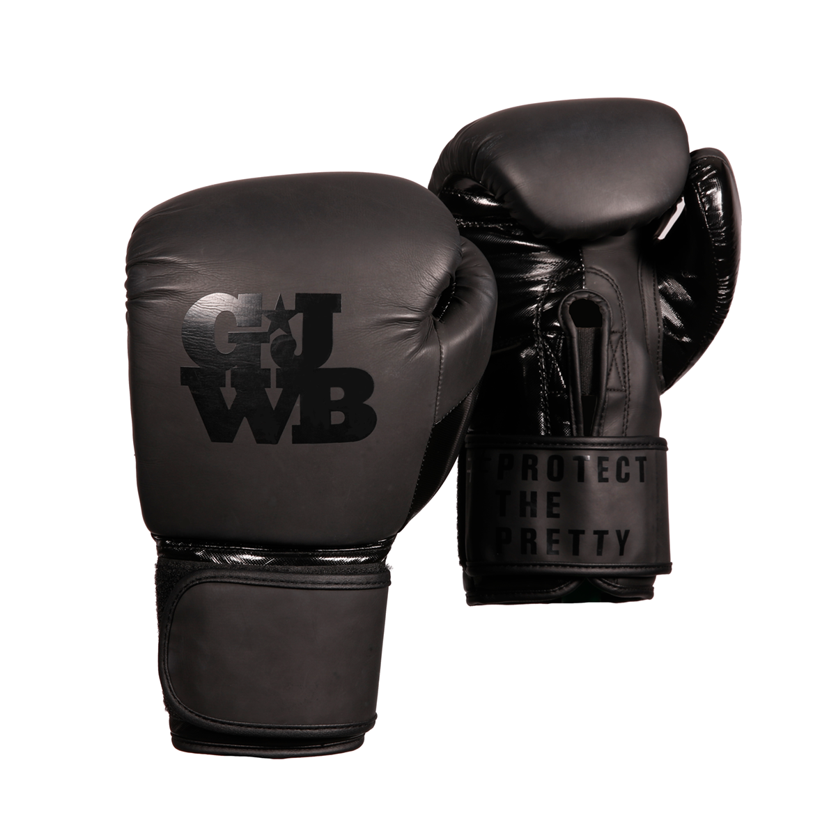Matte black women's boxing gloves with GJWB logo