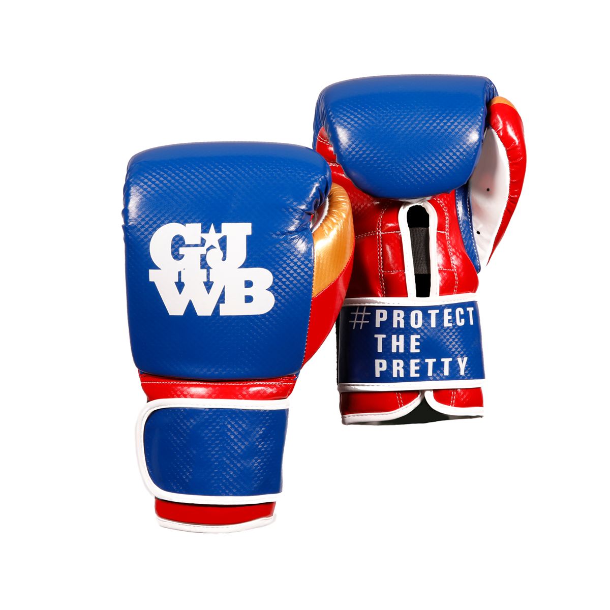 Blue and red women's boxing gloves with GJWB logo