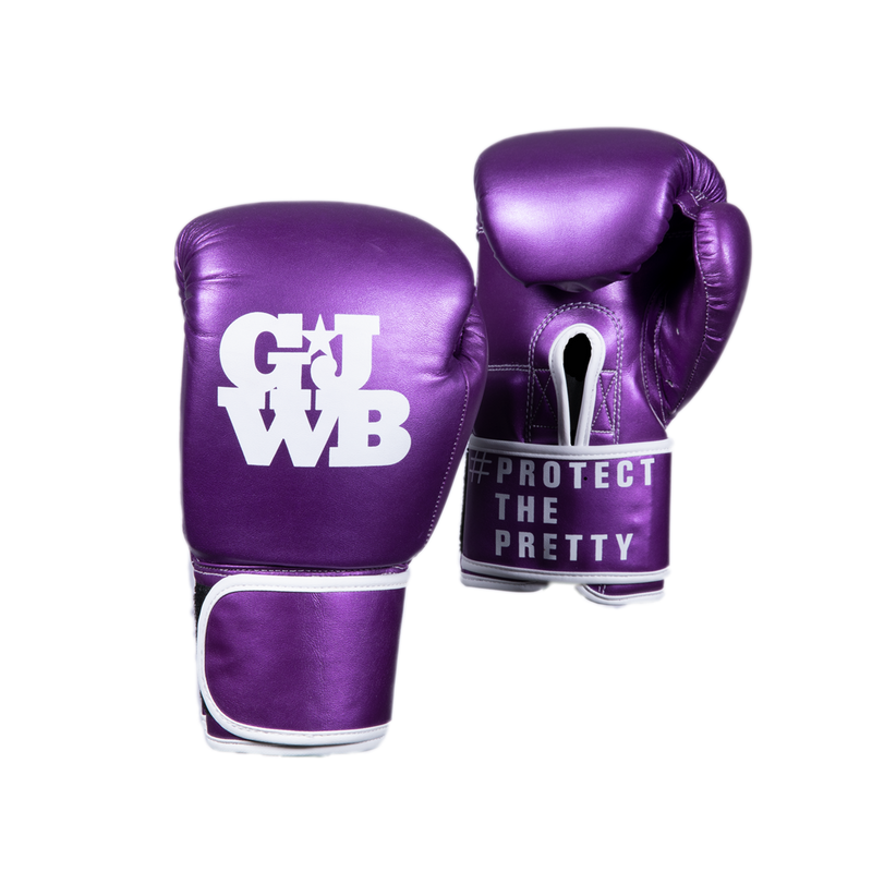 Purple girl's boxing gloves with GJWB logo