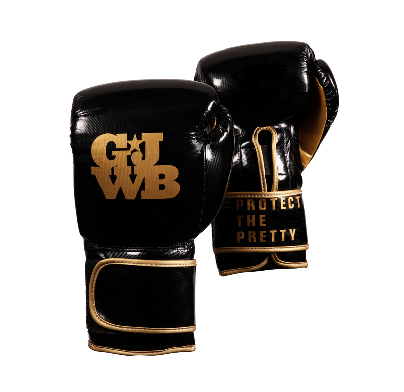 Black and gold women's boxing gloves with GJWB logo