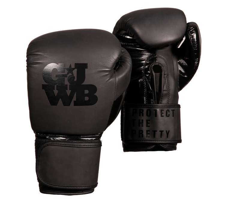 Black women's boxing gloves with GJWB logo