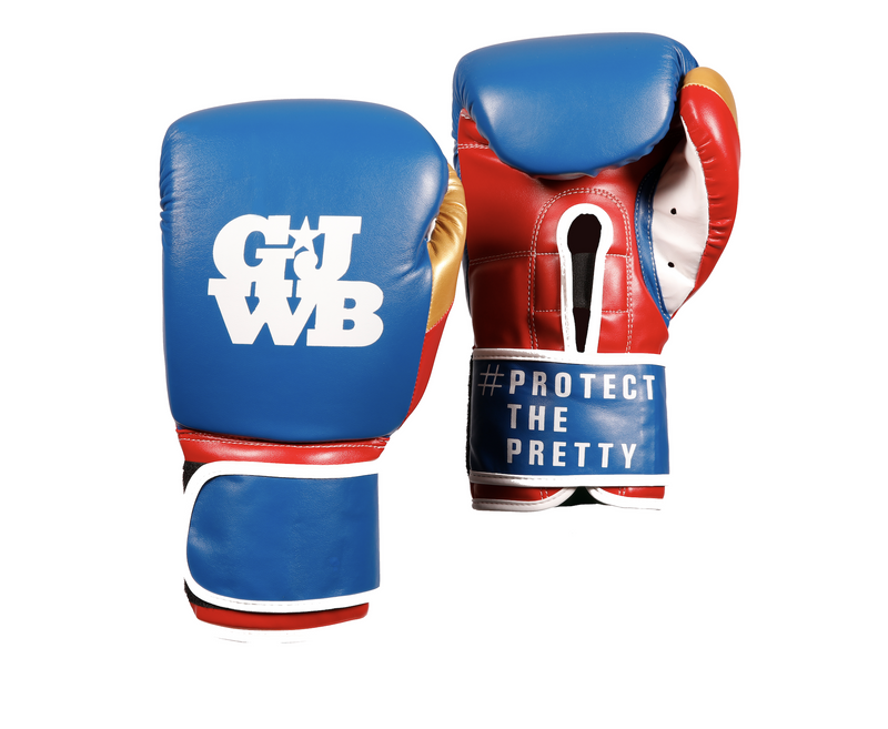 Blue and red boxing gloves with the GJWB logo