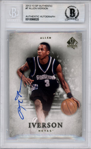 Allen Iverson Autographed 2012-13 SP Authentic Card #7 Georgetown Hoyas