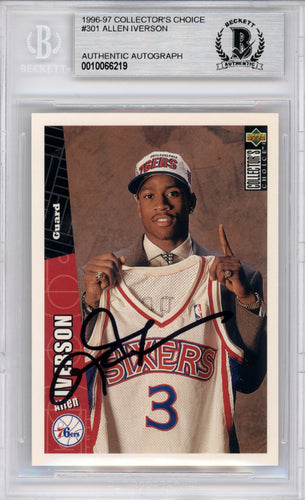 Allen Iverson Autographed 1996-97 Collector's Choice Rookie Card #301 Philadelphia 76ers