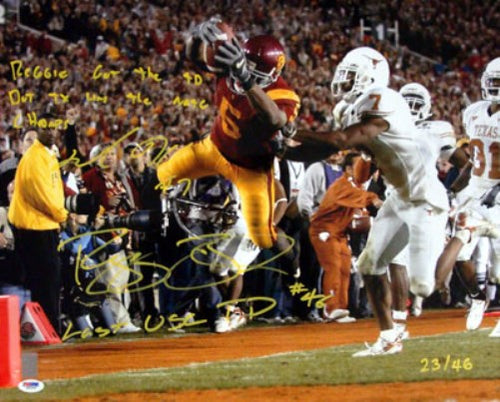 Reggie Bush & Michael Huff Autographed 16x20 Photo #/46 PSA/DNA