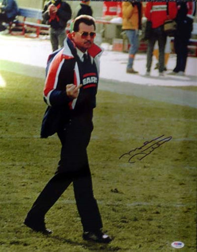 Mike Ditka Autographed 16x20 Photo Chicago Bears Giving The Finger PSA/DNA
