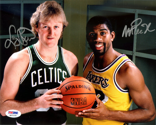 Magic Johnson & Larry Bird Autographed 8x10 Photo PSA/DNA