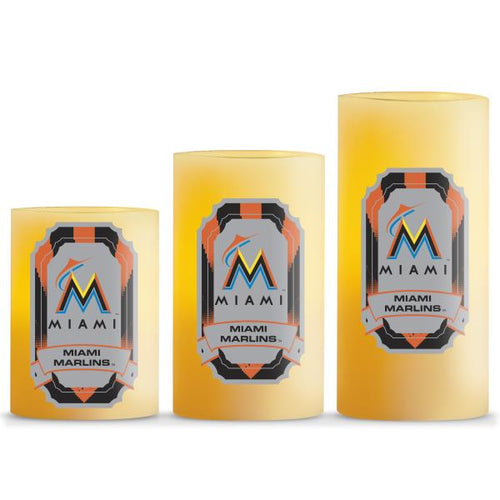 Duckhouse MLB Miami Marlins 3-Piece LED Candle Gift Set