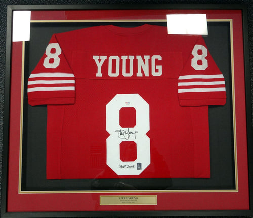 San Francisco 49ers Steve Young Autographed Framed Red Jersey