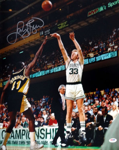 Larry Bird Autographed 16x20 Photo Boston Celtics PSA/DNA