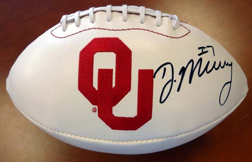 DeMarco Murray Autographed White Logo Football Oklahoma Sooners