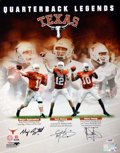 Texas Longhorns Quarterback Greats Autographed 16x20 Photo With 3 Signatures Including Vince Young, Colt McCoy & Major Applewhite PSA/DNA