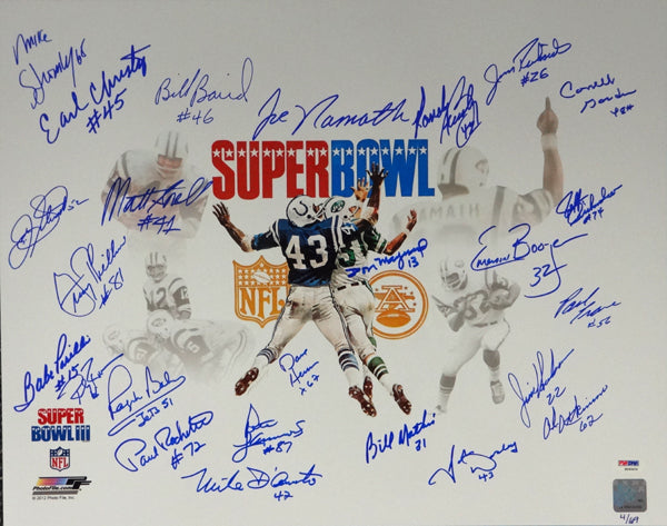 1969 Super Bowl Champion New York Jets Autographed 16x20 Photo With 25 Signatures Including Joe Namath #/69 PSA/DNA